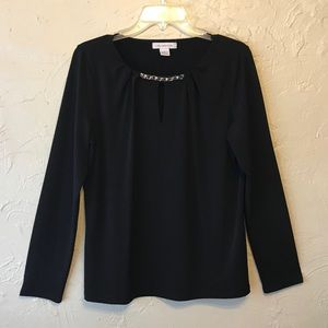 EUC Liz Claiborne Black Long Sleeve Blouse